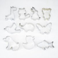 Wholesale Rabbit Cookie Cutter - Stainless Steel Animal Shape Cake Design Kit Cookie Cutter Set Cupcake Mould of Butterfly Puppy Rabbit Set of 10