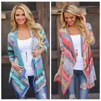 Wholesale Sweater Woman V Neck Striped - Free Shipping Boho Womens Long Sleeve Cardigan Loose Sweater Outwear Knitted Jacket Coat Tops