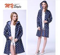 Wholesale Girls Outdoor Long Jackets - Dot Girl Lady Hooded Raincoat Women Outdoor Travel Waterproof Riding Cloth Rain coat for Women Poncho Long Rainwear rain jacket