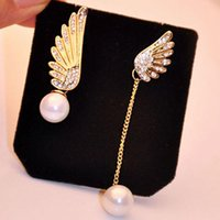 Wholesale gold 18k rings wings - Women Elegant Wings Rhinestone Ear Stud Gold Plated Dangle Earrings Jewelry Asymmetric Angel Wings Earing Pearl Earring Ear Ring Accessories