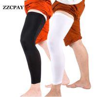 Wholesale Knee Padded Tights - Wholesale- 1 Pcs Professional Football Basketball Leggings Slip Breathable Sports Tights Long Sleeve Calf Pad ski knee protector