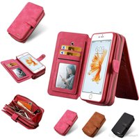 Wholesale Iphone Case Folio Pink - For Samsung S8 Plus Zipper Wallet Case For Iphone 7 6 6s Plus BRG PU Leather Folio Flip Case With 11 Credit Card Slot OPPBAG