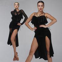 Wholesale professional latin women costumes online - 3 style professional black velvet latin dance dress woman rumba samba costume sexy Perspective stitching salsa dress competition costume