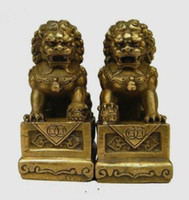 Wholesale chinese lion art - Chinese Brass Folk Fengshui Foo Fu Dog Guardion Door Lion Statue Pair