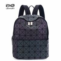 Wholesale teenage fashion girl - Wholesale- Leatury Backpack Noctilucent Women Baobao Bags Laser Lattice Geometric Bao bao Luminous Backpack for Teenage Girls School Bags