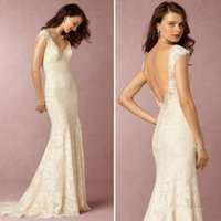 Wholesale Sexy Self Photo - Rice White Mermaid Wedding Dresses Lace Applique V Neck Bridal Gown Self-Cultivation Sexy Formal Wedding Dresses