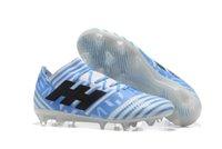 Wholesale Scarpe Sport - Football Sports Cleats Scarpe Calcio Messi Nemeziz V Black Blue Light Weight Breathable Original Outdoor Trainer Soccer Shoes
