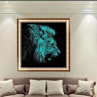 Wholesale 3d Kit Decorations - Abstract Lion Animal painting cross DIY 5D Diamond stitch Round 3D Diamond Stitch Tools Kit diamond mosaic Room Decor