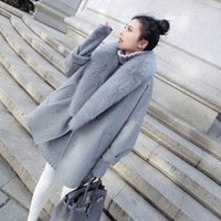 Wholesale Korean Winter Fashion Women Xl - Fashion Korean version of the large cocoon-type cape Gray Fur coat it in the long section of the winter coat Wool & Blends free shipping