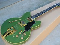 Wholesale Guitar Tremolo Gold - Green Semi-hollow Electric Guitar with Yellow Binding and Tremolo System,Gold hardwares,Can be Changed