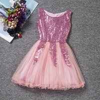 Wholesale Bud Net - 2017 new girls triangular sequins dress yarn dress girls summer net yarn sleeveless dress poncho children skirt