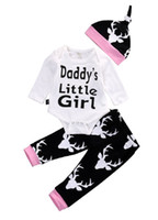 Wholesale Infant Rompers Girls Wholesale - Infant baby Girls Clothes Toddler Clothing Set Kids Romper Suit Long Sleeve Pajamas 3pcs Daddy's Little Girl Printed Rompers Legging pants
