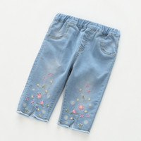 Wholesale Baby Embroidered Pants - Everweekend Girls Floral Embroidered Denim Shorts Summer Vintage Sweet Baby Denim Pants Cute Cow Girl Summer Pants