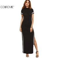 Wholesale High Cut Briefs - COLROVIE Women Sexy Wear Autumn Style Bodycon Dresses Black Cut Out Striped Trim Short Sleeve High Neck Split Sheath Maxi Dress 17309