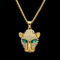 Wholesale Gold Leopard Head Necklace - Fashion Long Necklace For Men Gold Plated Hip Hop Cuban Link Chain Stainless Steel Emerald CZ Leopard Head Pendant Necklaces Men Jewelry
