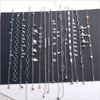 Wholesale New Sweet Love Star - 16pcs lot Women Foot Chain Metallic Fashion Sweet Heart Bow Sexy Ankle Chain New Lady Elegant Minimalistic Love Heart Bracelet Anklet Ankle