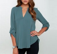 Wholesale Asymmetric Hem Casual Blouse - Free Shipping V Neck Asymmetric Hem Blouse Seven Kinds Of Colors Eight Different Sizes Can Be Chose