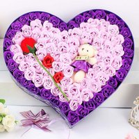 Wholesale Purple Teddy Bear Flowers - Valentine's day, Christmas gift 92 roses flower and teddy bear soap flower gift birthday gift soap flower