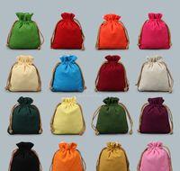 Wholesale Cloth Tea Bag - Blank Plain Small Cloth Bag Drawstring Jewelry Pouch Gift Packaging Pocket Cotton Linen DIY Empty Candy Tea Storage Bag vanilla Sachet