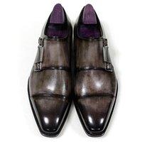sapatas de couro cinzentas dos homens de couro venda por atacado-Homens Sapatos Monk fivela Strap Oxfords Sapatos personalizados feitos à mão Dedo do pé quadrado Couro genuíno de bezerro Cor pátina Cinza HD-N192