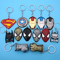 Wholesale Boys Batman - Hot Sale Captain America Shield Keychain The Avengers Superman Superhero Batman KeyChain Ring Key ring Fashion Accessories