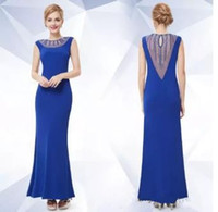 Wholesale Transparent Cocktail Dresses - 2017 Sexy Blue Jewel Sleeveless Back Transparent Ankle-Length Elastic Satin Evening Prom Cocktail Party Dresses Free Shipping