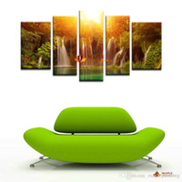 Wholesale Picture Gallery Wall - 5 piece decorative painting Modern Canvas Art Gallery waterfall and forest view painting on canvas wall pictures for living room