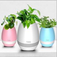 pot de fleurs éclairé achat en gros de-Newset TOKQI Bluetoth Smart Touch Musique Pots de fleurs Plante Musique pour piano Jouer au pot de fleurs sans fil Une lumière colorée Pots de fleurs (sans plantes)