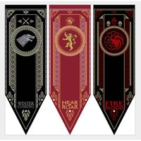 Wholesale Game Housing - House Stark Banner - Game of Thrones Wolf Tournament Outdoor Banner Flag 48*150 cm Custom America USA Team Soccer College Baseball Flag