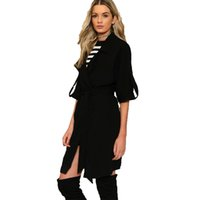 Wholesale Long Half Trench Coat - Fashion Black Women Trench Coat British Style Unicolor Half-Sleeve Female Outercoats Double Breasted Ladies winter jackets for women