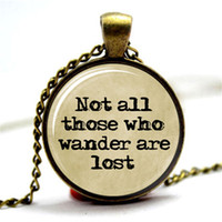 Wholesale Old Pendants - 10PCS Not All Those Who Wander Are Lost, LOTR Tolkien Typewriter & Old Paper Necklace