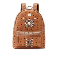 MEM Sac à dos authentique pour hommes Femmes Designer PVC Leather Étudiants Satchel School Bag Size Large 34 * 41 * 16cm Brown Classic Handbag