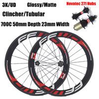 Wholesale novatec 271 hub - FFWD Carbon Wheels 700C 50mm Depth 23mm Width Clincher Tubular 3K UD Matte Glossy Full Carbon Wheelset With Novatec 271 Hubs