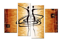 Wholesale Oil Painting African Art - Art Hand Painted Oil Paintings Gift African Women Dance 4 pcs set Wood No Framed Hanging Wall Decoration