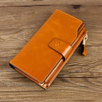 Wholesale Brown Trifold - Genuine Cow Leather Women Fashion Clutch Wallet Trifold Large Card Holder Phone Case Luxury Ladies Purse