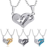 Wholesale Heart Shape Couple Necklace - New Men's Women's Lover Couple I Love You Alloy Rhinestone Heart Shape Pendant Choker Chain Jewelry Necklace