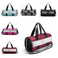 Wholesale Secret Cell - 5 Colors Pink Letter Handbags Secret Shoulder Bags Unisex Large Capacity Travel Striped Luggage Bags Waterproof Duffel Bags CCA7227 30pcs