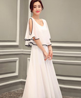 Wholesale Lotus Sleeve Dress - The new women's Korean version of the self-cultivation strapless long dress lotus leaf chiffon dress sleeves summer