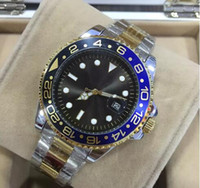 Wholesale green dress watches for sale - Group buy 44MM relogio masculino mens watches dress designer fashion Black Dial Calendar gold Bracelet Folding Clasp Master Male gifts couples