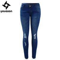 Wholesale Tie Dye Pants For Women - Wholesale- 1884 Youaxon Women`s High Street Ripped Knees Strech Low Rise Denim Pencil Skinny Pants Trousers Femme Jeans For Women