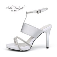Wholesale Club Sexy Shoe For Women - 2017 new style summer shoes for woman genuine leather high heels sexy stiletto heel silver sandals buckle strap 10cm women club party shoes