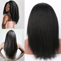 Wholesale french yaki full lace wigs resale online - Brazilian hair light yaki straight full lace wig glueless kinkyyaki straight full lace wig for black women