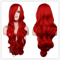 Wholesale Long Dark Red Wavy Wig - Long Wavy Costume Party Cosplay Wig Dark Red 80 Cm Synthetic Hair Wigs
