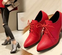 Wholesale Hot New Lace Up Shoes - New Arrival Hot Sale Specials Sweet Girl Good Quality Sexy Fine Noble Pointed Lace Up Wedding Party Thick Heel Shoes EU34-39
