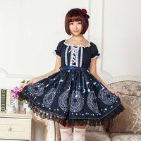 blaue magische kleider großhandel-Lolita Japanese Style Kurzes Freizeitkleid Sweet Deep Blue Sakura Magic Circle Bedrucktes Lolita Kleid