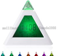 Wholesale Digital Led Pyramid - 7 LED Change Colors Pyramid LCD Digital Snooze Alarm Clock Time Data Week Temperature Thermometer C f Hour Home MYY