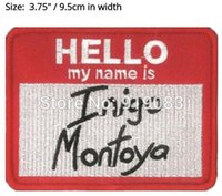Wholesale Wholesale Bride Costume - The Princess Bride Hello my name is Inigo Montoy patch Comics tv movie Embroidered Emblem applique iron on patch cosplay costume party favor