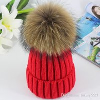 Wholesale Knitted Mink - DHL freight free Real 15cm Mink Ball Pom Pom Beanies Cap Winter Hat For Women New Female Thick Wool & Cotton Warm Knitted Caps