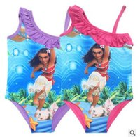 Wholesale Swim Wear For Kids - Trolls Moana Girls Swimwear Cartoon One Pieces Swimsuits Kids Ruffled Swimming Suit For Girl Bathing Suit Beach Wear Kids Swimsuit 215