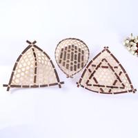 Wholesale Natural Baskets - Natural Environmental Protection Pure Manual Bamboo Weaving Triangle Fruit Basket Fruits Basket Dried Food Basket Originality Bamboo Arts